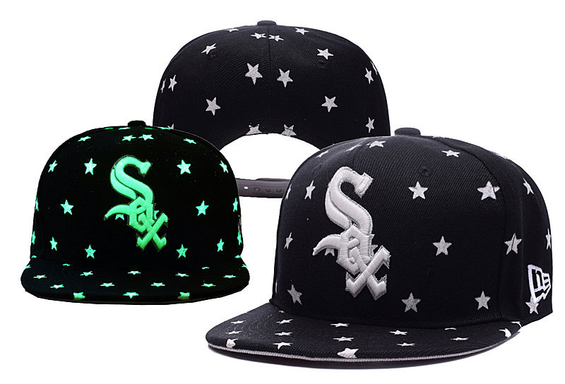White Sox Team Logo Black Adjustable Luminous Hat YD