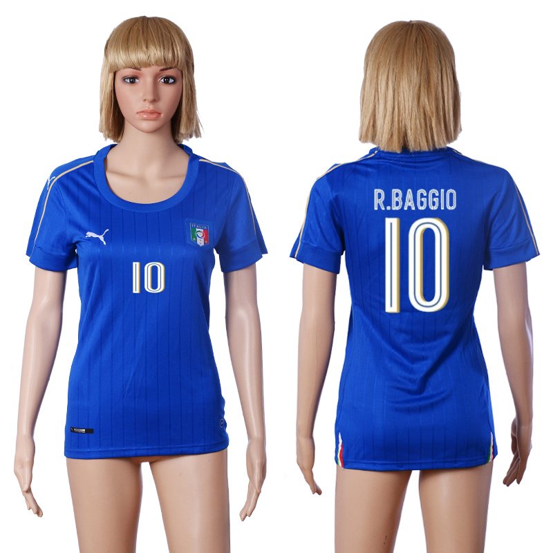 Italy 10 R.BAGGIO Home Women UEFA Euro 2016 Soccer Jersey