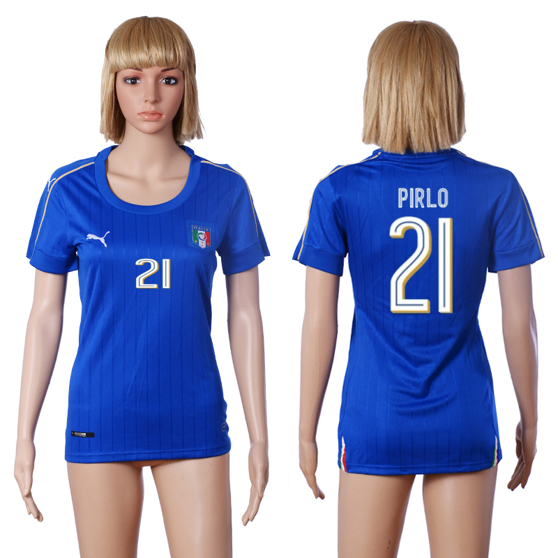 Italy 21 PIRLO Home Women UEFA Euro 2016 Soccer Jersey