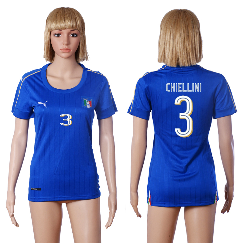 Italy 3 CHIELLINI Home Women UEFA Euro 2016 Soccer Jersey