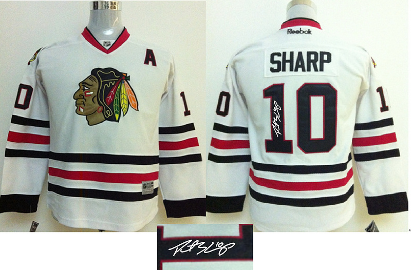 Blackhawks 10 Sharp White Signature Edition Youth Jerseys