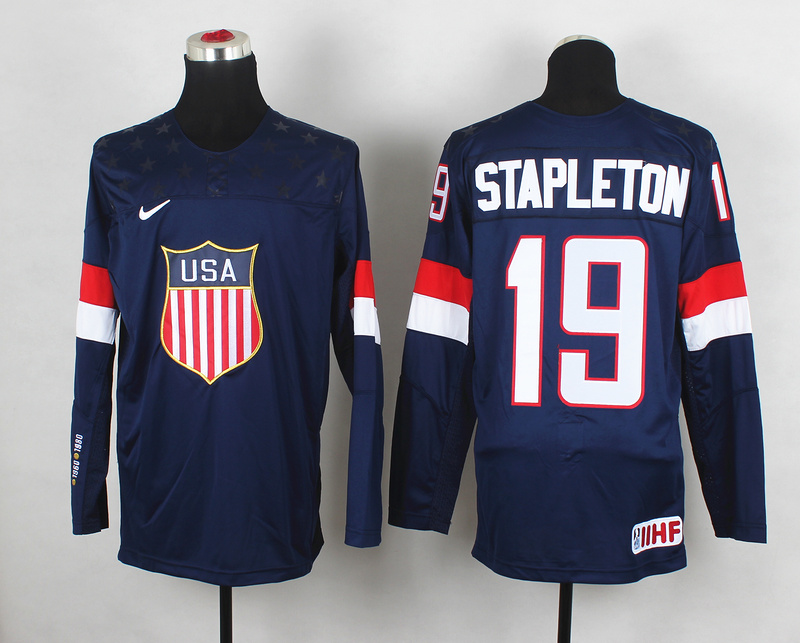 USA 19 Stapleton Blue 2014 Olympics Jerseys