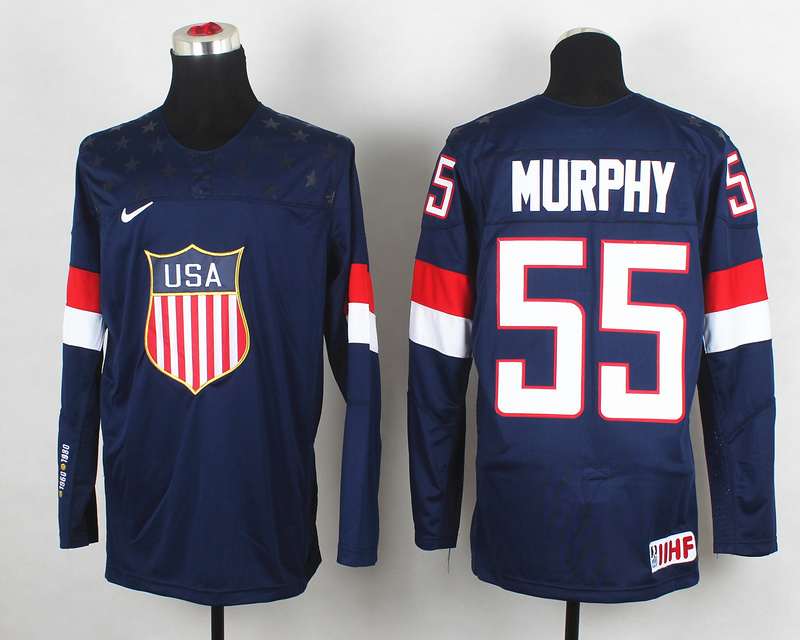 USA 55 Murphy Blue 2014 Olympics Jerseys