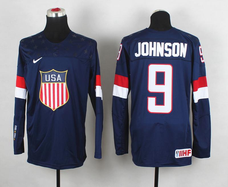 USA 9 Johnson Blue 2014 Olympics Jerseys