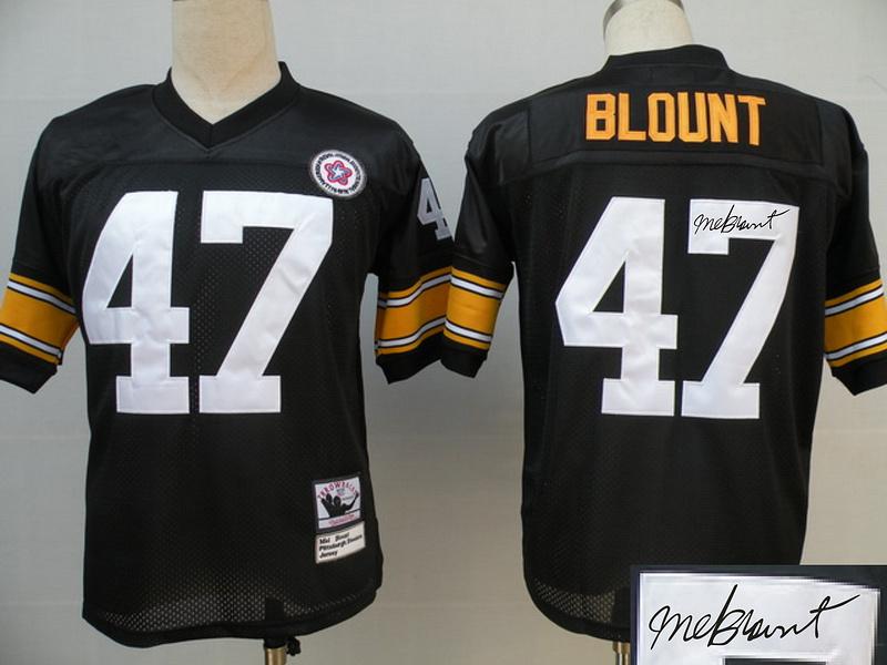 Steelers 47 Blount Black Throwback Signature Edition Jerseys