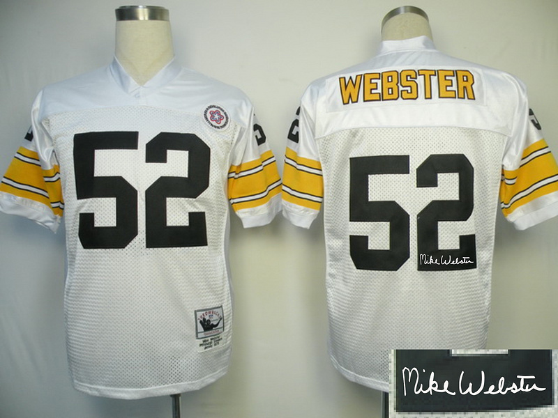 Steelers 52 Webster White Throwback Signature Edition Jerseys