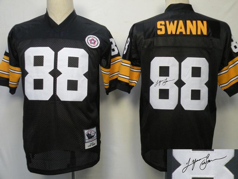 Steelers 88 Swann Black Throwback Signature Edition Jerseys