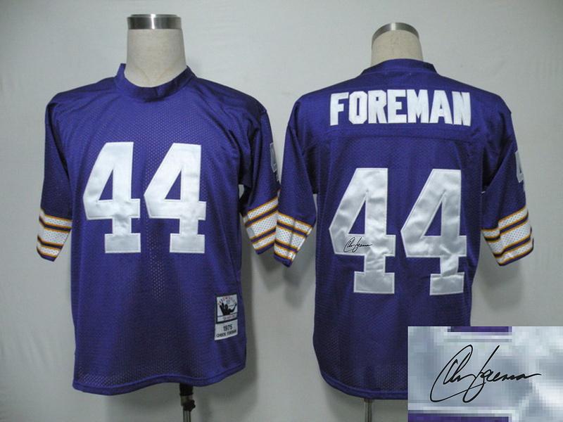 Vikings 44 Foreman Purple Throwback Signature Edition Jerseys