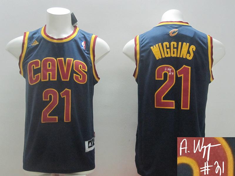 Cavaliers 21 Wiggins Blue New Revolution 30 Signature Edition Jerseys