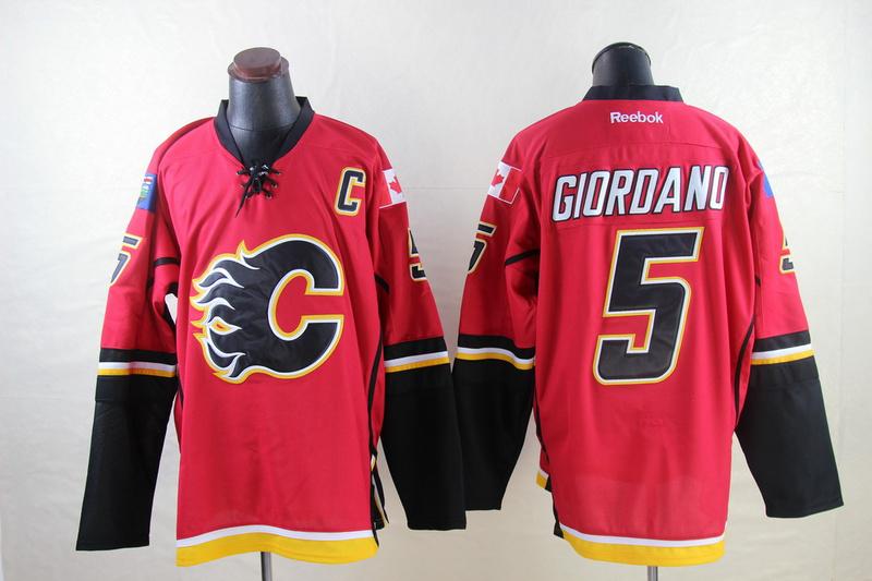 Flames 5 Giordano Red Reebok Jerseys