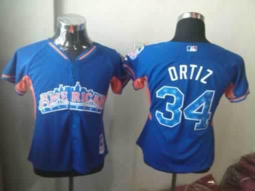 Red Sox 34 Ortiz Blue 2013 All Star Jerseys