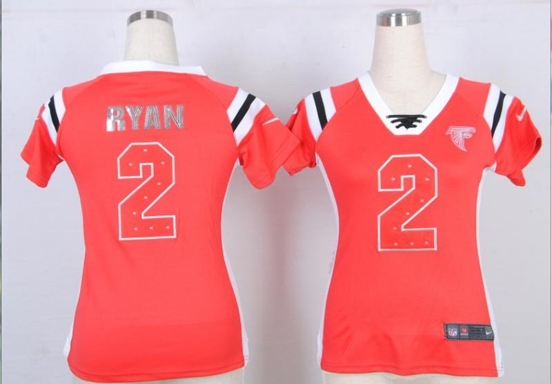 Nike Falcons 2 Ryan Red Sequin Lettering Women Jerseys