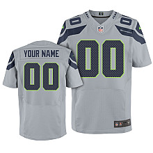 Nike Seattle Seahawks Customized Elite grey Jerseys