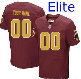 Nike Washington Redskins Customized Elite Red gold number Jerseys