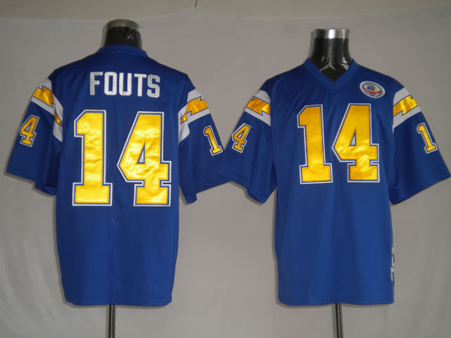 San Diego Chargers 14 Dan Fouts Blue throwback Jerseys