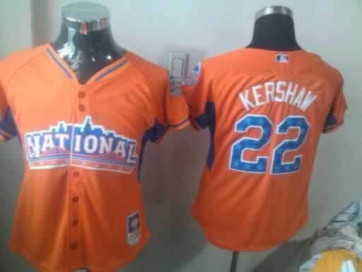 Dodgers 22 Kershaw Orange 2013 All Star Women Jerseys