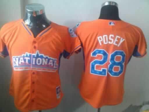 Giants 28 Posey Orange 2013 All Star Women Jerseys