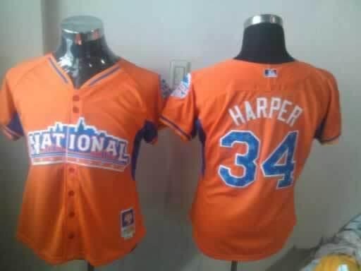 Nationals 34 Harper Orange Orange 2013 All Star Women Jerseys