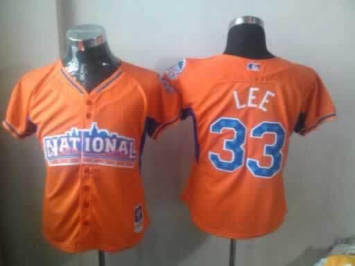 Phillies 33 Lee Orange 2013 All Star Women Jerseys