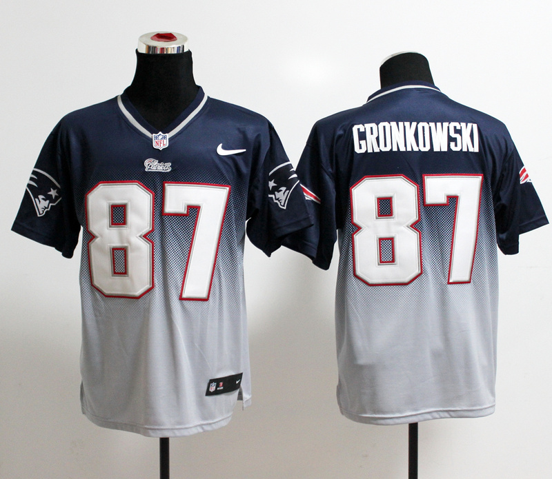 Nike Patriots 87 Gronkowski Blue And White Drift II Elite Jerseys