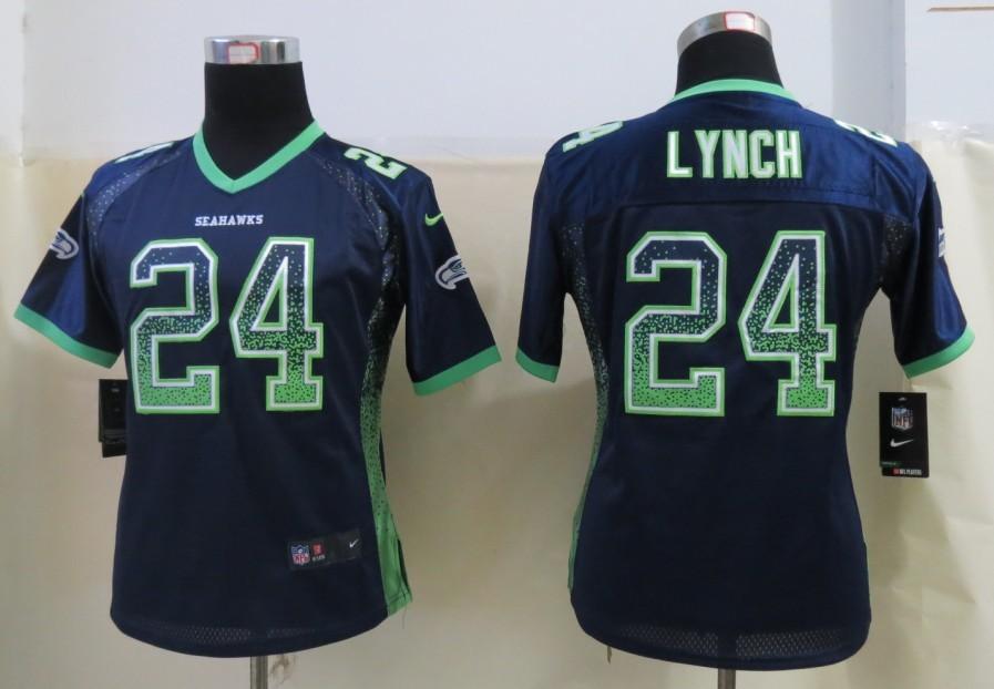 Nike Seahawks 24 Lynch Drift Fashion Blue Women Jerseys