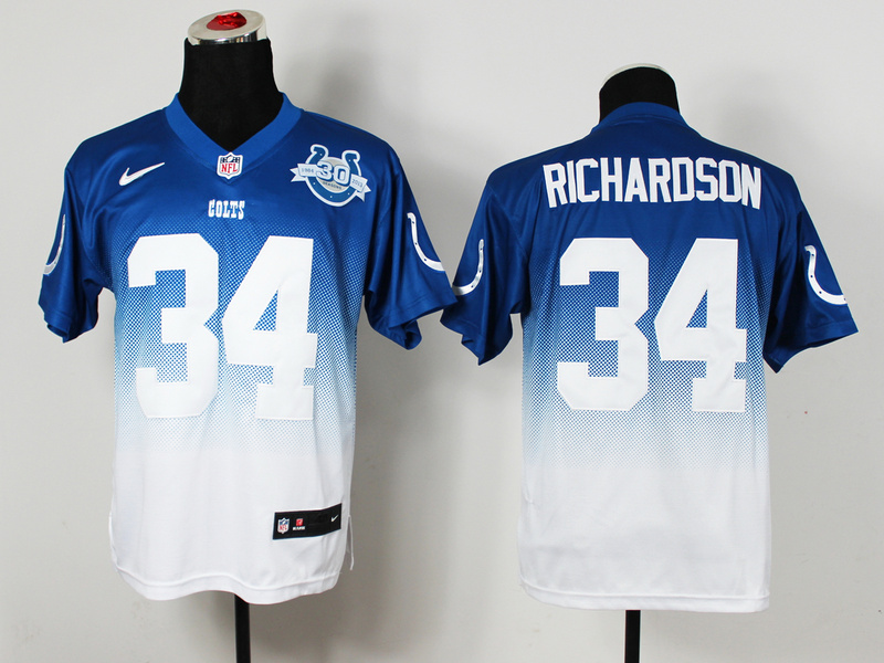 Nike Colts 34 Richardson Blue And White Drift II 30th Elite Jerseys