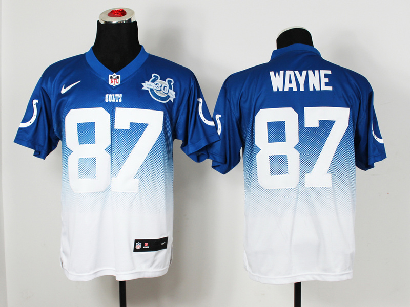 Nike Colts 87 Wayne Blue And White Drift II 30th Elite Jerseys