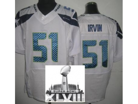 Nike Seahawks 51 Bruce Irvin White Elite 2014 Super Bowl XLVIII Jerseys