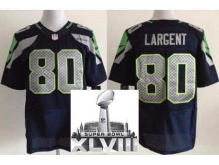 Nike Seahawks 80 Steve Largent Blue Elite 2014 Super Bowl XLVIII Jerseys