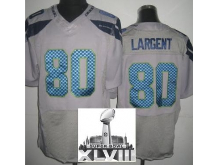 Nike Seahawks 80 Steve Largent Grey Elite 2014 Super Bowl XLVIII Jerseys