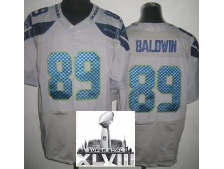 Nike Seahawks 89 Doug Baldwin Grey Elite 2014 Super Bowl XLVIII Jerseys