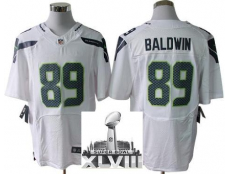 Nike Seahawks 89 Doug Baldwin White Elite 2014 Super Bowl XLVIII Jerseys