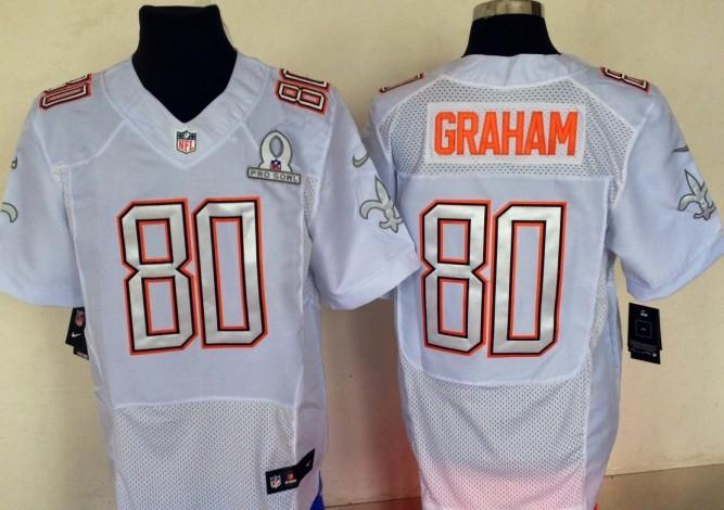 Nike Saints 80 Graham White 2014 Pro Bowl Jerseys