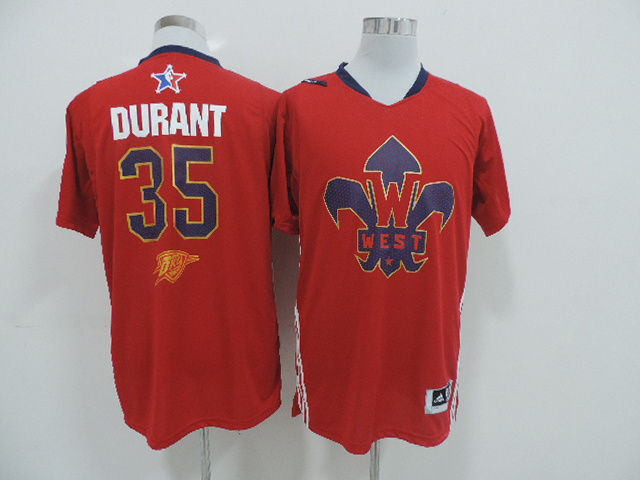 2014 All Star West 35 Durant Red Swingman Jerseys