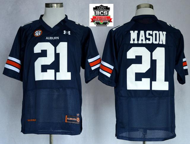 Auburn Tigers Tre Mason 21 NCAA Football Authentic Nave Blue Jerseys With 2014 BCS Patch