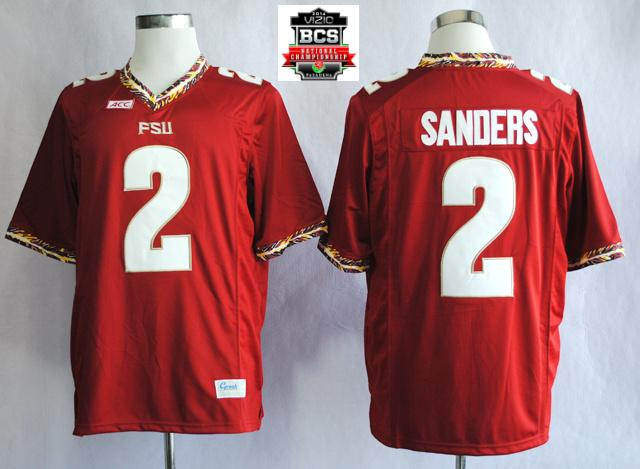 Florida State Seminoles (FSU) Deion Sanders 2 College Football Red Jerseys With 2014 BCS Patch