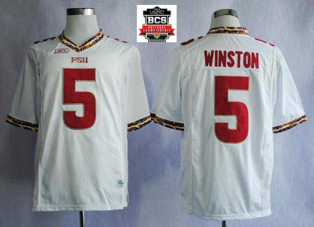 Florida State Seminoles (FSU) Jameis Winston 5 College Football White Jerseys With 2014 BCS Patch
