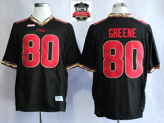 Florida State Seminoles (FSU) Rashad Greene 80 College Football Black Jerseys With 2014 BCS Patch