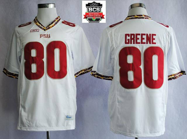 Florida State Seminoles (FSU) Rashad Greene 80 College Football White Jerseys With 2014 BCS Patch