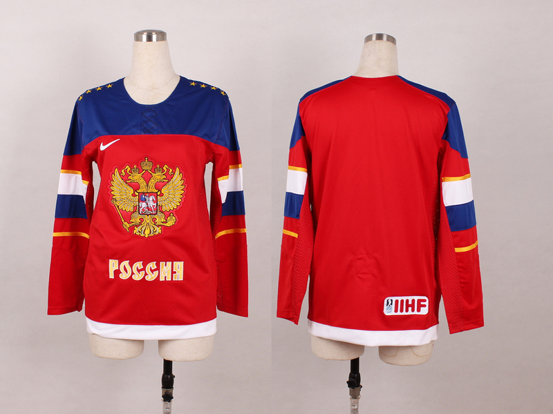 Russia Blank Red 2014 Olympics Women Jerseys