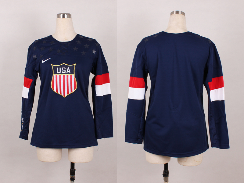 USA Blank Blue 2014 Olympics Women Jerseys
