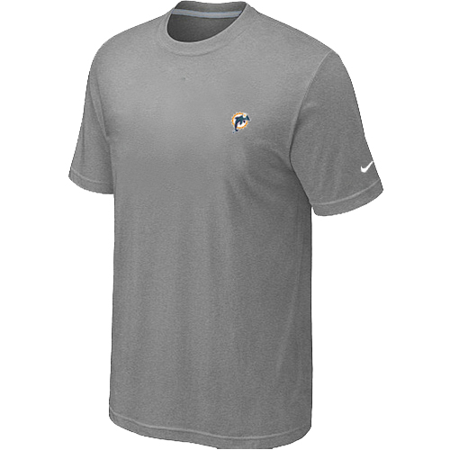 Nike Miami Dolphins Chest Embroidered Logo T-Shirt Grey