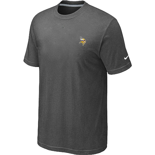 Nike Minnesota Vikings Chest Embroidered Logo T Shirt D.Grey