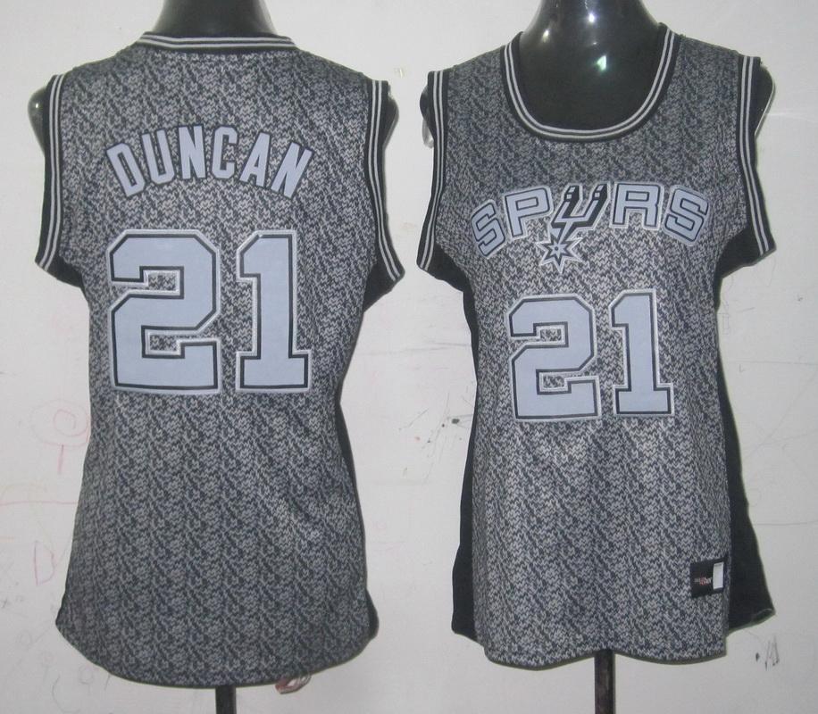 Spurs 21 Duncan Grey Static Women Jersey