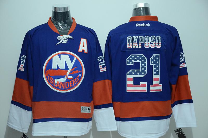 Islanders 21 Kyle Okposo Blue USA Flag Reebok Jersey