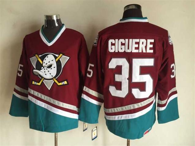 Ducks 35 Jean Sebastien Giguere Red CCM Jersey