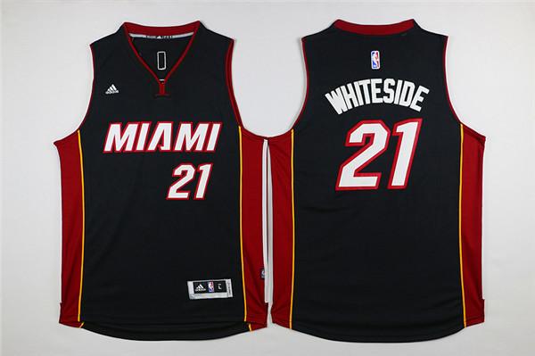 Heat 21 Hassan Whiteside Black Swingman Jersey
