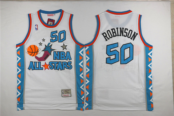 NBA 1996 All Star 50 David Robinson White Hardwood Classics Jersey