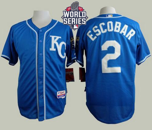 Royals 2 Alcides Escobar Blue With 2015 World Series Cool Base Jersey