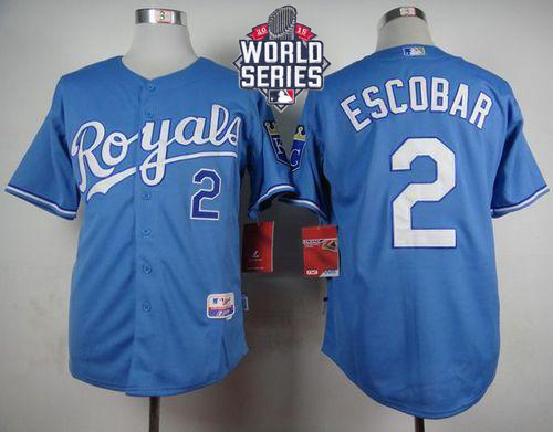 Royals 2 Alcides Escobar Light Blue With 2015 World Series Cool Base Jersey